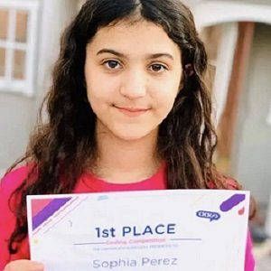 student winner with certificate