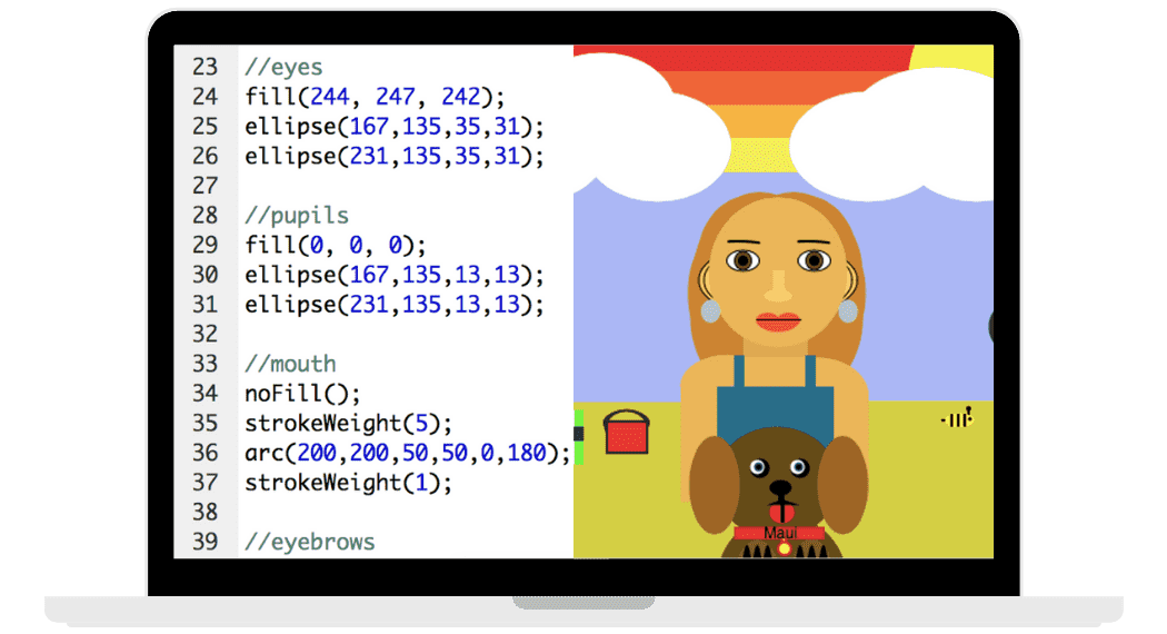 coded girl with dog